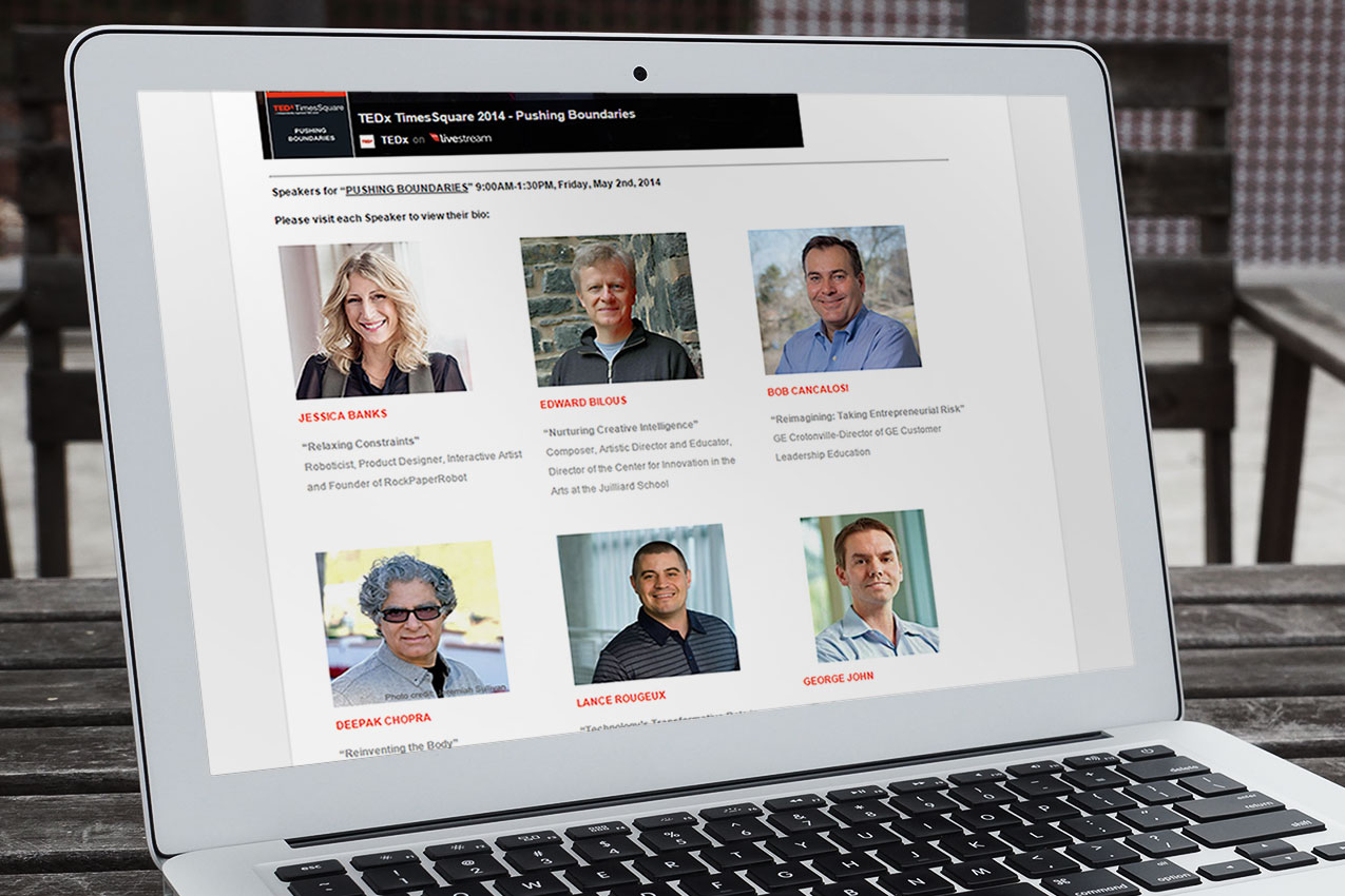 TEDx Times Square website (subpage)