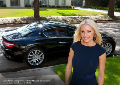Joyce Echols with her Maserati GranTurismo